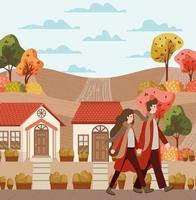 casal caminhando ao ar livre, cena de outono