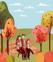 família no parque, cena do outono
