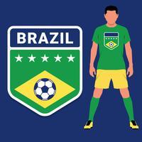 Conjunto de modelo de Design de emblema de campeonato de futebol brasileiro vetor