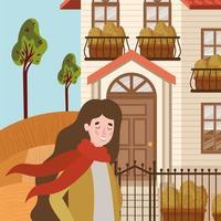 mulher caminhando ao ar livre, cena de outono