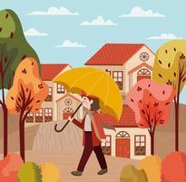 menina com guarda-chuva, cena de outono