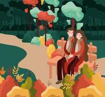 casal no parque, cena do outono