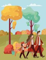 família caminhando ao ar livre, cena de outono
