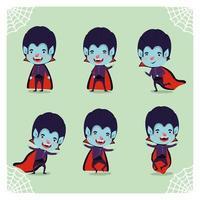 conjunto de menino com fantasia de vampiro vetor