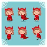 garota com uma fantasia de diabo vetor