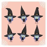 garota em uma fantasia de bruxa