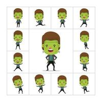 menino em uma fantasia de monstro verde