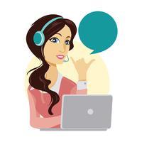 Personagem de mulher linda serviço ao cliente vetor
