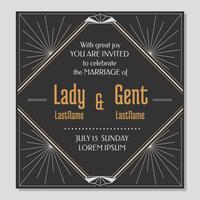 Cartão do convite do casamento do art deco vetor