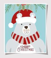 cartão de feliz natal com urso polar vetor