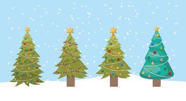 pinheiros de natal fofos vetor