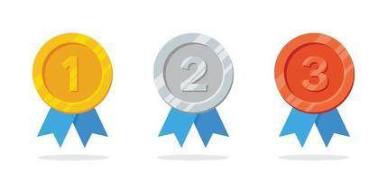 medalha de ouro, prata e bronze para o torneio vencedor vetor