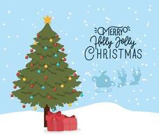 cartão de feliz natal com pinheiro