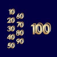 100 anos de comemoração de aniversário de ouro azul ilustração vetorial de design de modelo vetor