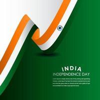 ilustração de design de modelo vetorial feliz celebração do dia da independência da Índia