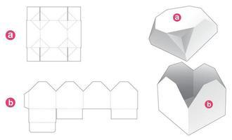 caixa de presente e molde recortado de tampa octogonal chanfrada