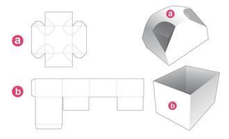 caixa de presente e molde recortado de tampa com 4 cantos chanfrados