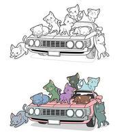 gatos bonitos no carro, desenho para colorir para crianças