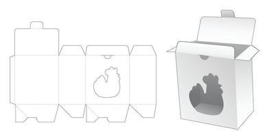 modelo de corte e vinco de janela em forma de galinha em caixa de ponto travado