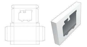 caixa de lata com janela em formato de locomotiva molde recortado vetor