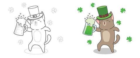 Página para colorir para crianças do gato fofo no dia de São Patrício