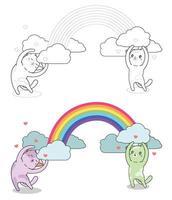 personagens de gatos com página para colorir de arco-íris para crianças vetor
