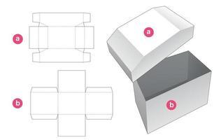 caixa em forma de peito e molde de tampa cortada vetor