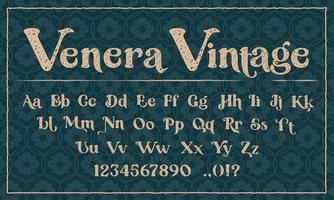 uma fonte decorativa no estilo grunge. perfeita para a marca, de convites, cartões postais, impressão de logotipos, lojas e muitos outros usos. vetor