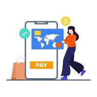conceito de banco e pagamento online vetor