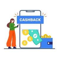 conceito de serviço de aplicativo de devolução de dinheiro