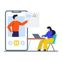 conceito de aplicativo de ensino online vetor
