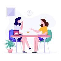 conceito de intervalo para almoço no escritório vetor