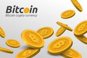 Sinal de Bitcoin dourado em fundo branco vetor
