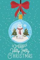 cartão de feliz natal com enfeite pendurado vetor