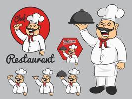Feliz chef mascote dos desenhos animados polegares para cima e segure o prato