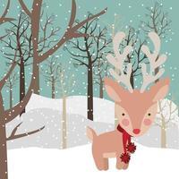 cartão de feliz natal com rena vetor