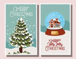 conjunto de cartão de feliz natal vetor
