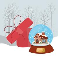 cartão de feliz natal com bola de cristal vetor