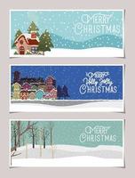 conjunto de banner de feliz natal vetor