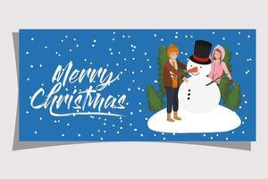jovem casal com boneco de neve de natal vetor