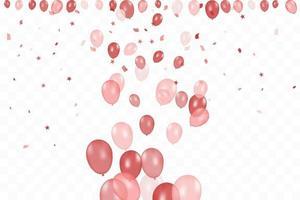 aniversário da menina. fundo de feliz aniversário com balões rosa e confetes. festa de evento de celebração.