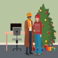casal interracial comemorando o natal vetor