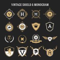 conjunto de monograma vintage e elementos de escudo vetor