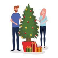 casal comemorando o natal vetor