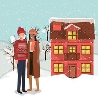 casal interracial comemorando o natal