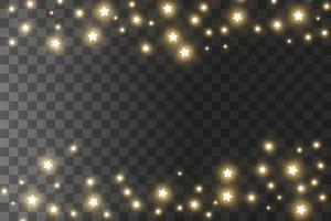 faíscas de poeira e estrelas douradas brilham com luz especial. efeito de luz de natal. partículas de poeira mágicas cintilantes. vetor