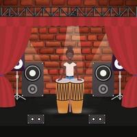 personagem de mulher afro tocando bateria vetor