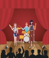 grupo de mulheres tocando música em uma banda vetor