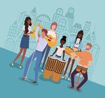 grupo de pessoas inter-raciais tocando música em uma banda vetor