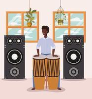 homem afro tocando bateria vetor